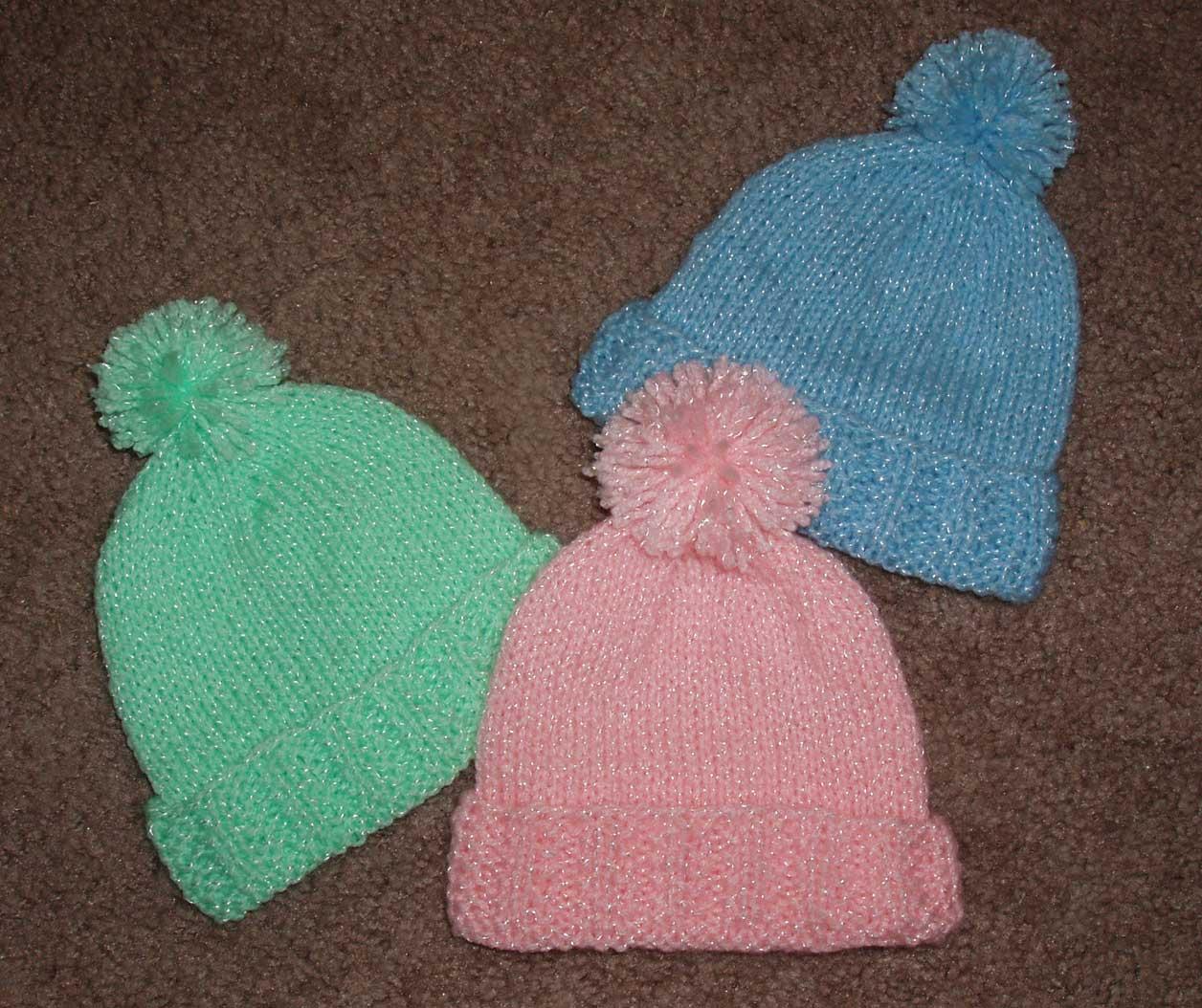 Knit Rib Stitch Hat : Baby Hat in Mistake-Stitch Rib